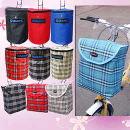 Wholesale Giant Mountain Bicycles - 2015 Real Bicycle Accessories Bags Mobile Cell Phones Giant Folding Bike with Lid Mountain Canvas Waterproof Square Car Basket