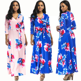 new sexy body dresses Promo Codes - Fall 2018 Women's sexy hot sales new V neck body dress long pattern S M L XL ankle length Europe and the United States