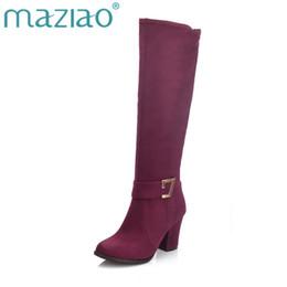 3ab83c35f MAZIAO Grande Tamanho 32-48 Moda sapatos de Salto Alto Botas de equitação  moda outono Botas de Inverno Zip up Mulheres Sapatos Mulher knee-high saltos  altos ...