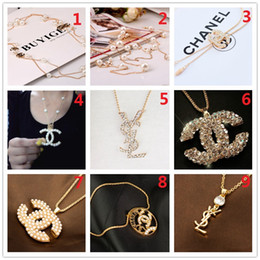 Wholesale quartz red necklace - TOP!Fashion Brand 14K Gold Silver Necklace Pearl Diamond Corsage Classic Designer Letter Logo Collar Pin Party Wedding Jewelry AAA14
