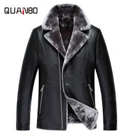 Wholesale Cashmere Suit Coat - high quality Men's suit collar pu fur coat Winter plus velvet thick leather jacket Men's business locomotive leather coat