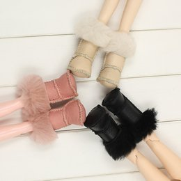 Wholesale doll scale - 1 6 Scale Adorable Dolls Shoes PU Leather Plush Snow Boots Shoes for Blythe 12'' Dolls Clothing Fashion Shoes Dolls Accessories