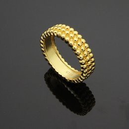 Wholesale Silver Round Beads Rings - Foreign trade jewelry wholesale three rows of round beads ring 18K gold trade rings