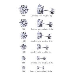 Perforación del semental negro online-6 par / lote 3mm-8mm CZ Stud Pendientes Conjuntos Mujeres Niñas Diamante Redondo Brillante Piercing Ear Plugs Studs para Niños Hombres Adolescentes Plata Negro Ventas al por mayor