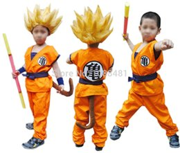 Wholesale S Wigs - Dragon Ball Z suit Son Goku Cosplay Costumes Top Pant Belt Tail wrister wig Shoes
