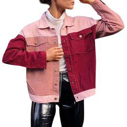 Slim fit denim chaqueta mujer online-de las mujeres chaqueta vaquera del bloque del color del bolsillo de los pantalones vaqueros del ajuste delgado chaquetas streetwear ocasional de la vendimia Mujer ropa de la mezclilla de la blusa Outwear