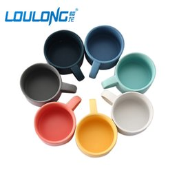 Wholesale Blue Mixers - Macaron Ceramics Coffee Mugs Breakfast Cup Milk Mug Mixer For Coffee Couple Water Cups Tazas De Cafe Creativas BT0024