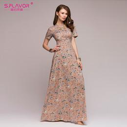 5cfa04f70b4 street style elegant Canada - X907S.FLAVOR Women causl long dress 2018  Summer Autumn fashion