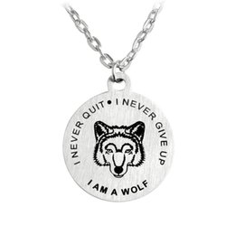 Wholesale steel wolf ring - Stainless Steel Necklace Keychain Letters I am a Wolf Never Quit Never Give Up Necklace Key Rings Inspire Fashion Jewelry Drop Shipping