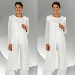 Wholesale Light Blouses - Elegant White Chiffon Long Sleeves Mother of the Bride Pant Suits With Long Blouse Sequins Beaded Mother of Groom Pant Suit BA3961