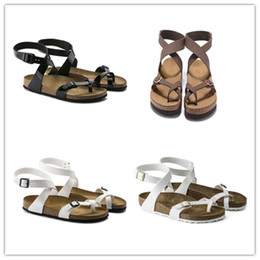 Wholesale ankle wrap flat sandals - Hot Famous Brand Arizona Women's Flat Heel Ankle-Wrap Sandals Spring Summer Classic Casual Ventilation Comfortable Genuine Leather Slippers