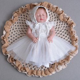 b12eb1b0919 2018 Summer Christening Dress for Baby Girl Newborn Girl Ivory Lace Dress  1st Brithday Party Bapteme Wedding With Hat
