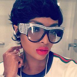 Wholesale vintage pink diamond - Luxury Square Sunglasses Womens Brand Designer Diamond Sunglasses For Women Vintage Oversized Shades Female Goggle Eyewear