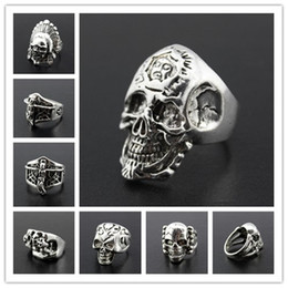 Wholesale Wholesale Masonic Rings - Stainless Steel Masonic skull ring Punk Man's High Quality Personality Men's Ring