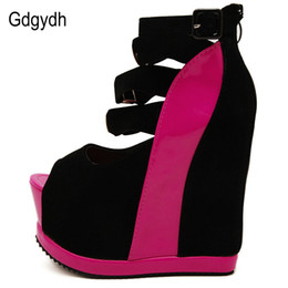 Wholesale Sexy Wedges Shoes - Gdgydh Hot Sale New Summer Shoes Woman Sexy Ultra High Heels Female Sandals Platform Wedges Open Toe Women Shoes Princess