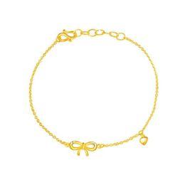 armband solide gelb Rabatt New Style Solide 999 24 Karat Gelbgold frauen O Link Bowknot Armband 7 inch