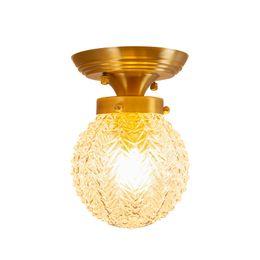 Estilo americano bola de vidro real lâmpadas de teto de bronze Post moderno foyer restaurante quarto de luxo deco LED e27 LEVOU dispositivo elétrico de iluminação de Fornecedores de luzes de tecto semi-niveladas rústicas