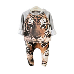 Wholesale Girls Tiger Sets - cute kids pajamas set cartoon cosplay animal tiger sleepwear set for 2-8yrs children boys girls students night house clothes set