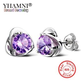 Wholesale ct heart - YHAMNI Natural Crystal Heart 1 ct 6mm Purple white CZ Diamond Earring 925 Sterling Silver Wedding Jewelry Earrings for Women ED040