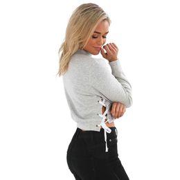 Ernte hoodies großhandel online-Sexy Herbst und Winter langärmelige Pullover Hoodies offen gefüllte Sweatshirt Crop Top Großhandel Sweatshirt Pullover Bluse Hoodie