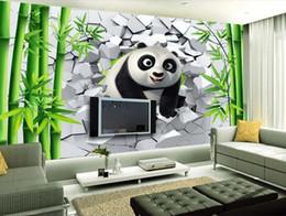 camere da parete dipinte di bambù Sconti Personalizzato 3d wallpaper per pareti 3d foto carta da parati murales 3D rotto buco muro di carino panda bambù TV sfondo muro dipinto carta da parati