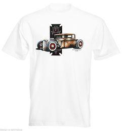 Wholesale hot rods cars - Print T Shirts Short Printing Mens T-Shirt 30's Ford 5 Window Rat Hot Rod Muscle Car Printed t shirt Men t shirt Casual Tops