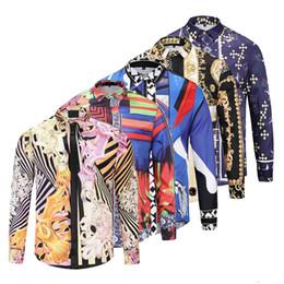 Argentina Venta al por mayor Diseño de marca de ropa Hombres Galaxy Golden Dragon Imprimir Camisa de manga larga 3d Estampado barroco Medusa Camisa Nueva manga larga Casual 3D F cheap rayon shirt wholesale Suministro