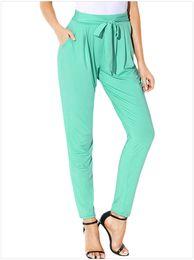 Wholesale Elastic Ribbon Belts - 2018 Women's New Solid Color Wild Women's Casual Pants With Pocket High Waist Belt Harem Pants