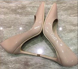f14772dcb94 GENSHUO Women Pumps Nude Pointed Toe High Heel Shoes Stiletto High Heels  Ladies Spring Autumn Steel Heel 12 10 8 cm Big Size