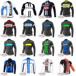Wholesale Giant Thermal Fleece Jersey - GIANT team Cycling Winter Thermal Fleece jersey Road Racing Polyester Breathable High quality mtb sportwear Ropa Ciclismo C2931