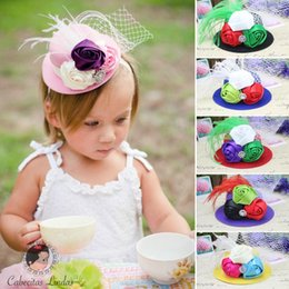 Wholesale Red Mini Top Hats - Retail Kids Mini Feather Rose Top Hat Cap Lace Fascinator Hair Clip Headwear party Costume Hair Accessories Drop shipping