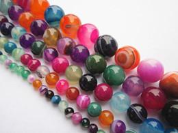 Achat mehrfarbig online-6 Größen Multicolor Achat-Edelstein-Korn-runde lose Perlen Halbedelstein für Schmucksachen, die DIY