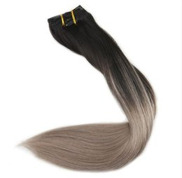 Wholesale ash blonde human hair extensions - Ash Blonde Balayage Clip Indian Human Hair Extensions Full Head 10Pcs 120g-140g Color 1B Fading to 18 Ombre Remy Clip ins