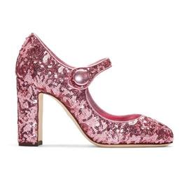 Runde zehe glitzer pumpen online-Sexy Rosa Bling Bling Glitter High Heel Pumps Runde Kappe Mary Janes Chunky Heels Kleid Schuhe Frauen Dicke Heels Kleid Schuhe