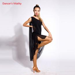 1746c81b82f2 Adult Girls Latin Dance Sleeveless Sexy Split Dress Competition Practice  Suit Women Lady Rumba Samba Tango Cha Cha Foxtrot Cut out Dancewear
