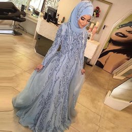 Wholesale Sequin Scarfs - 2018 Muslim Silver Bling Sequins Prom Dresses Beads With Long Sleeves Dubai Turkish Evening Gowns Arabic Mermaid Formal Scarf