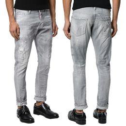 Jeans scarni di lavaggio grigio online-Jeans uomo Grigio Graffiti Skater Sparkle Wash Skinny Fit Worn Out Effect Denim Pants Uomo