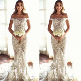 off shoulder dress mermaid style Coupons - 2018 Custom Made Bridal Mermaid Wedding Dress Exquisite Lace Appliques See Through Off Shoulder Wedding Gowns Western Country Styles