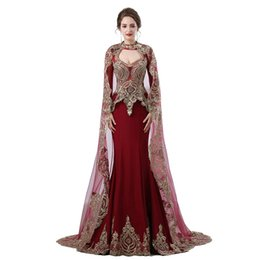 Wholesale Long Robe Soiree Sequin - Burgundy Arabic Mermaid Evening Dresses 2018 Robe De Soiree Long Sleeve Formal Gown Women Party Prom Dress Real Photo