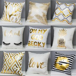 Wholesale chevron cushions - Bronzing Pineapple Love Lips Cushion Cover Nordic Geometric Plaids Chevron Stripes Triangles Cushion Covers Good Quality Cotton Pillow Case