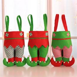 2019 doces do duende bolsas Elf Calças Meias Decorações Ornamento Xmas Candy Bag Festival Acessórios Do Partido Presentes sacos T5I019 desconto doces do duende bolsas