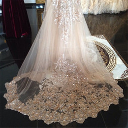 Wholesale Bride Veils - Bling Bling Sequins Lace Wedding Veil For Bride 3M Champagne Cathedral Cheap Bridal Veils for Bride Free Comb Custom Made One Tier