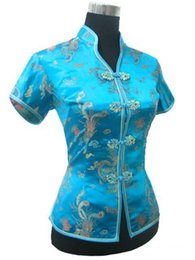 Wholesale Tang Suit Women - Promotion Blue Chinese Style Women Summer Blouse V-Neck Shirt Tops Silk Satin Tang Suit Top S M L XL XXL XXXL JY0044-4