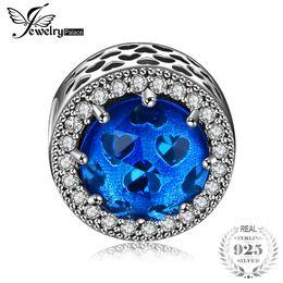2019 perlas azules de plata de corazón Jewelrypalace plata esterlina 925 Glitter Aqua Blue Heart Beads Charms Fit pulseras regalos para su aniversario joyería de moda rebajas perlas azules de plata de corazón