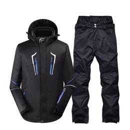 Canada Plus la taille veste et pantalon hommes vêtements de neige sports de plein air spécial équipement de snowboard coupe-vent étanche combinaison de ski ensembles noir cheap outdoor clothing gear Offre
