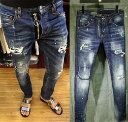 Wholesale Mens Washed Jeans - Mens Distress Ripped Skinny Jeans Designer Slim Fit Denim Destroyed Denim Hip Hop Punk Pants For Men