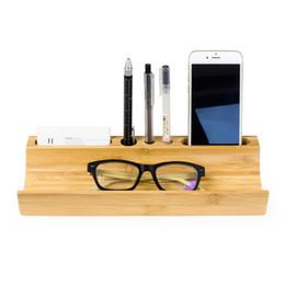 Wholesale Wood Desktop Box Organizer - Classic solid wood office storage box Bamboo Wooden Desktop Storage Shelves Pen Holder Mobile phone holder