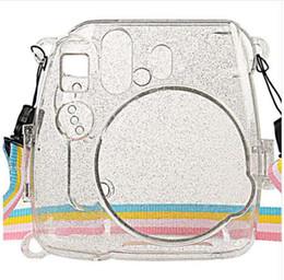 fuji instax mini Desconto Waterlowrie camera bag brilhando capa de plástico transparente proteger case para fujifilm fuji instax mini 9 8 8 + instantâneo com alça
