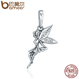 wholesale fairy charms Coupons - BAMOER Authentic 925 Sterling Silver Flower Fairy Dangle Pendant Charms fit Women Charm Bracelets & Necklaces jewelry SCC359