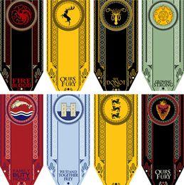 décorations pour les maisons Promotion 14 Styles Bannière Maison Stark Game of Thrones Wolf Tournoi En Plein Air Bannière Drapeau Suspendre Maison Décoration Bannière Drapeaux T1I800